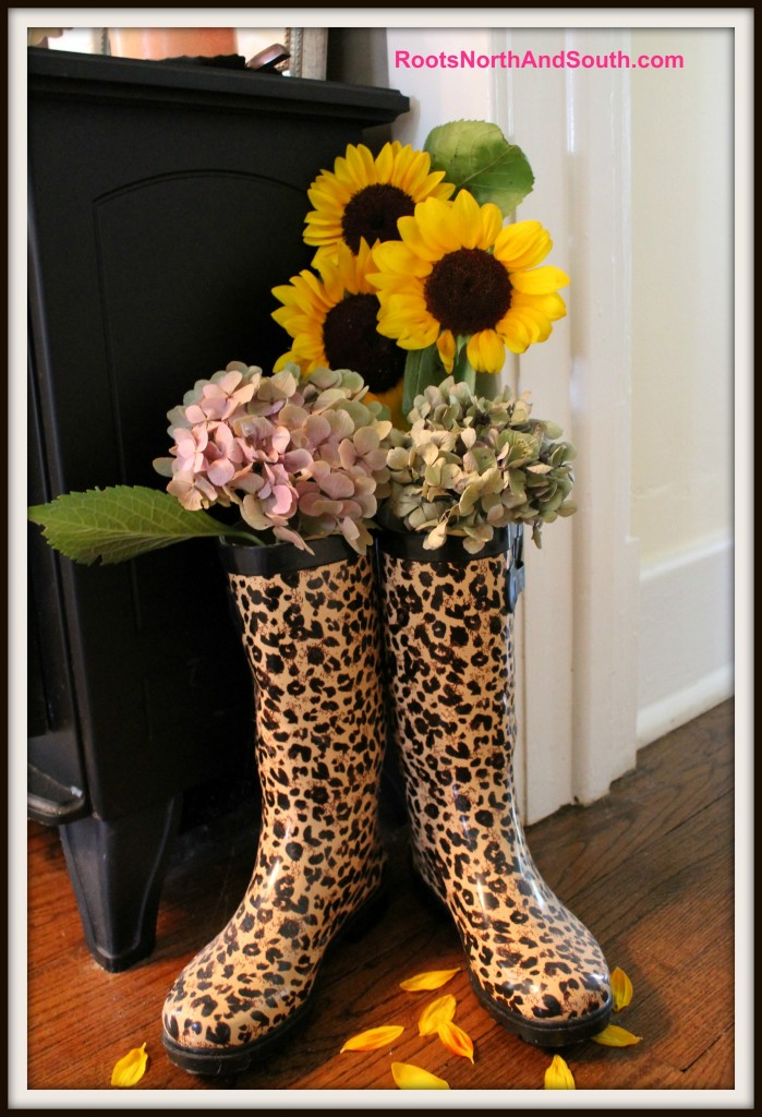 Leopard boots with fresh sunflowers