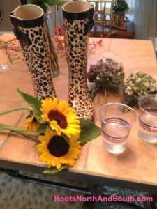 Making a sunflower arrangement with rubber boots
