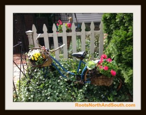 Blue Bike with Flowers