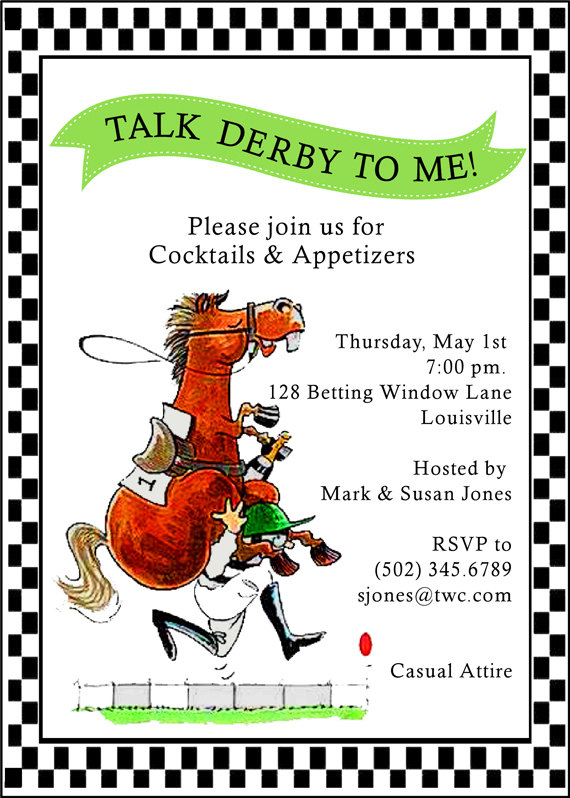 BowTies Hats Bourbon Its a Kentucky Derby Party Roots – Derby Party Invitations