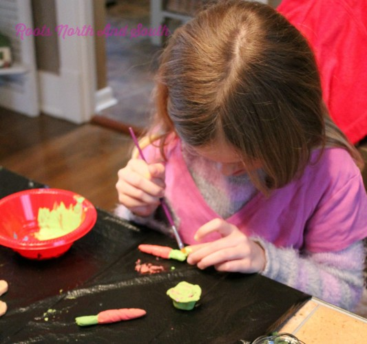 Painting veggies for the miniature garden