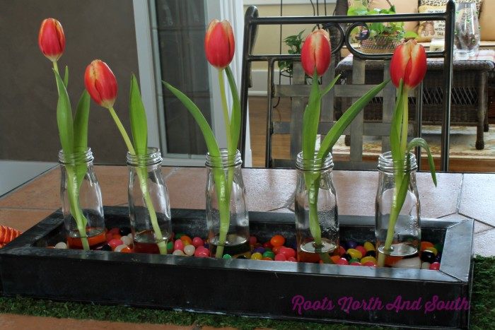 Tulips and Jelly Beans for a Centerpiece