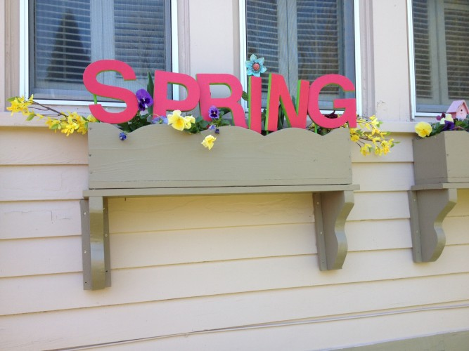 Decorating spring window boxes