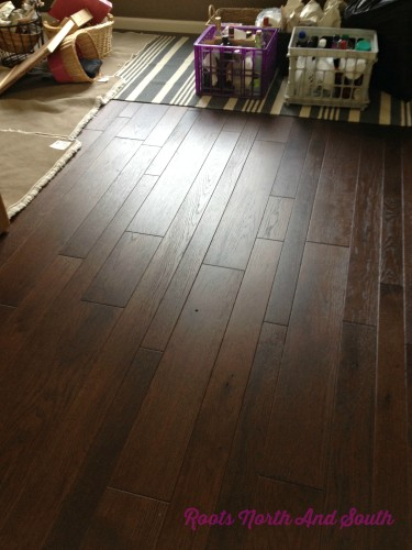 Rustic plank floors in the new house